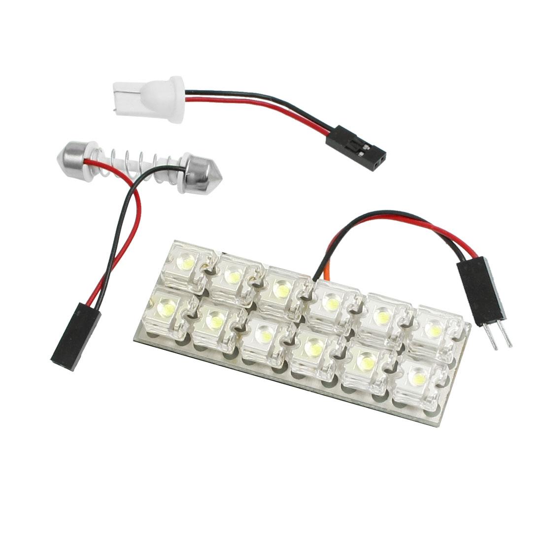 White Flux 12 LED Light + T10 Adpater + 29mm-41mm Festoon Base for Vehicle Truck