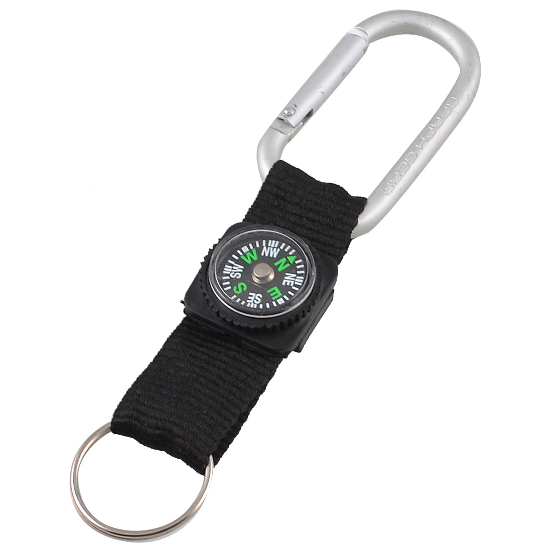 Spring Loaded Gate Silver Tone Black Compass Carabiner Hook Clasp