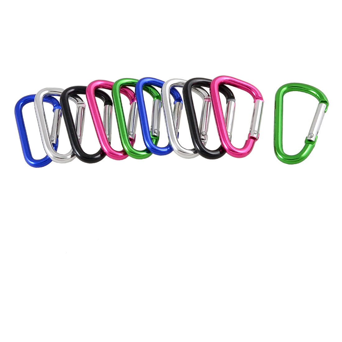 10 Pcs Colorful D Shaped Aluminum Alloy Fishing Traveling Carabiner Keychain