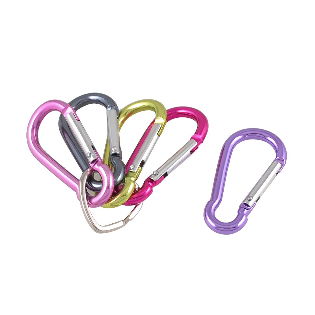 "5 Pcs 2.4"" Length Assorted Color Aluminum Alloy Lockable Carabiners"