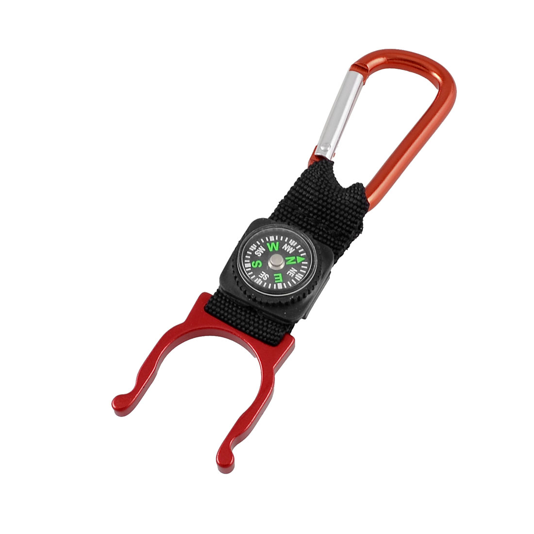 Red Black Strap Water Botte Holder D Shaped Carabiner Hook w Compass