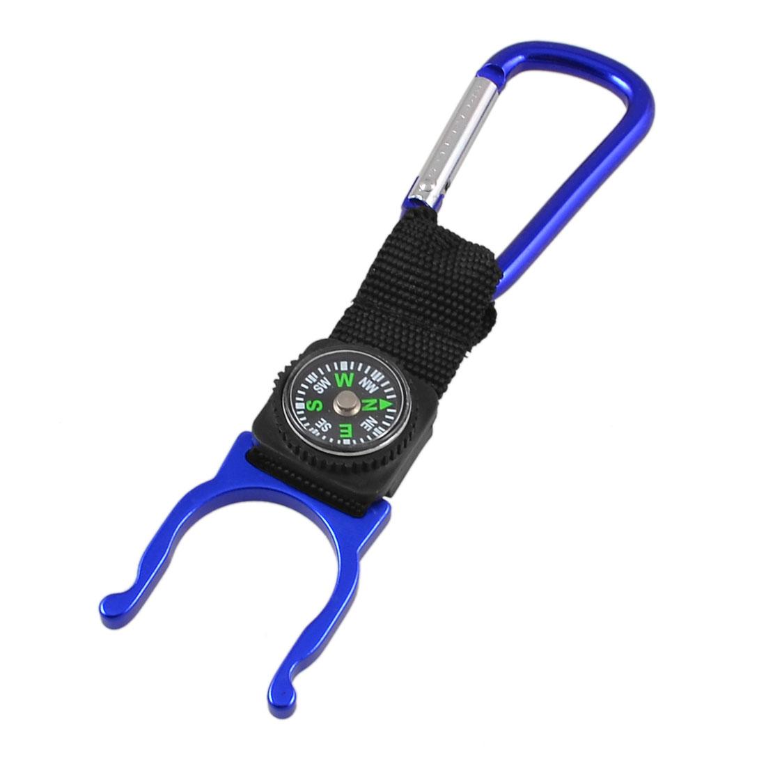 Blue Black Mini Compass Strap Water Botte Holder D Shaped Carabiner Hook