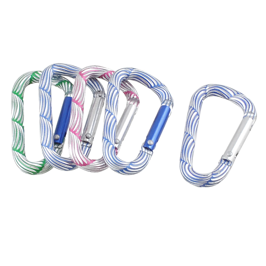 Multicolor Stripded D Shaped Locking Carabiner Key Holder 5 Pcs