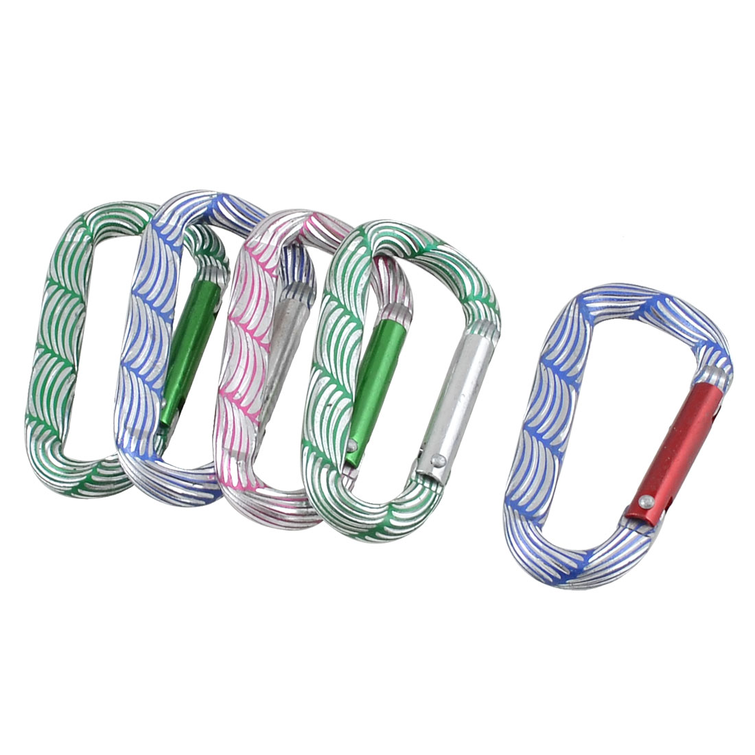 Colorful Stripded D Shaped Aluminum Alloy Locking Carabiner 5 Pcs