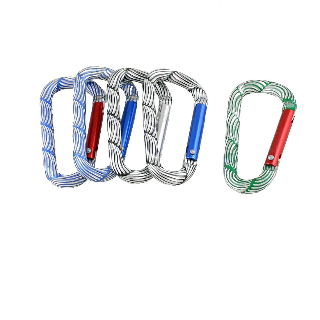 Multicolor Stripded D Shaped Aluminum Alloy Locking Carabiner 5 Pcs