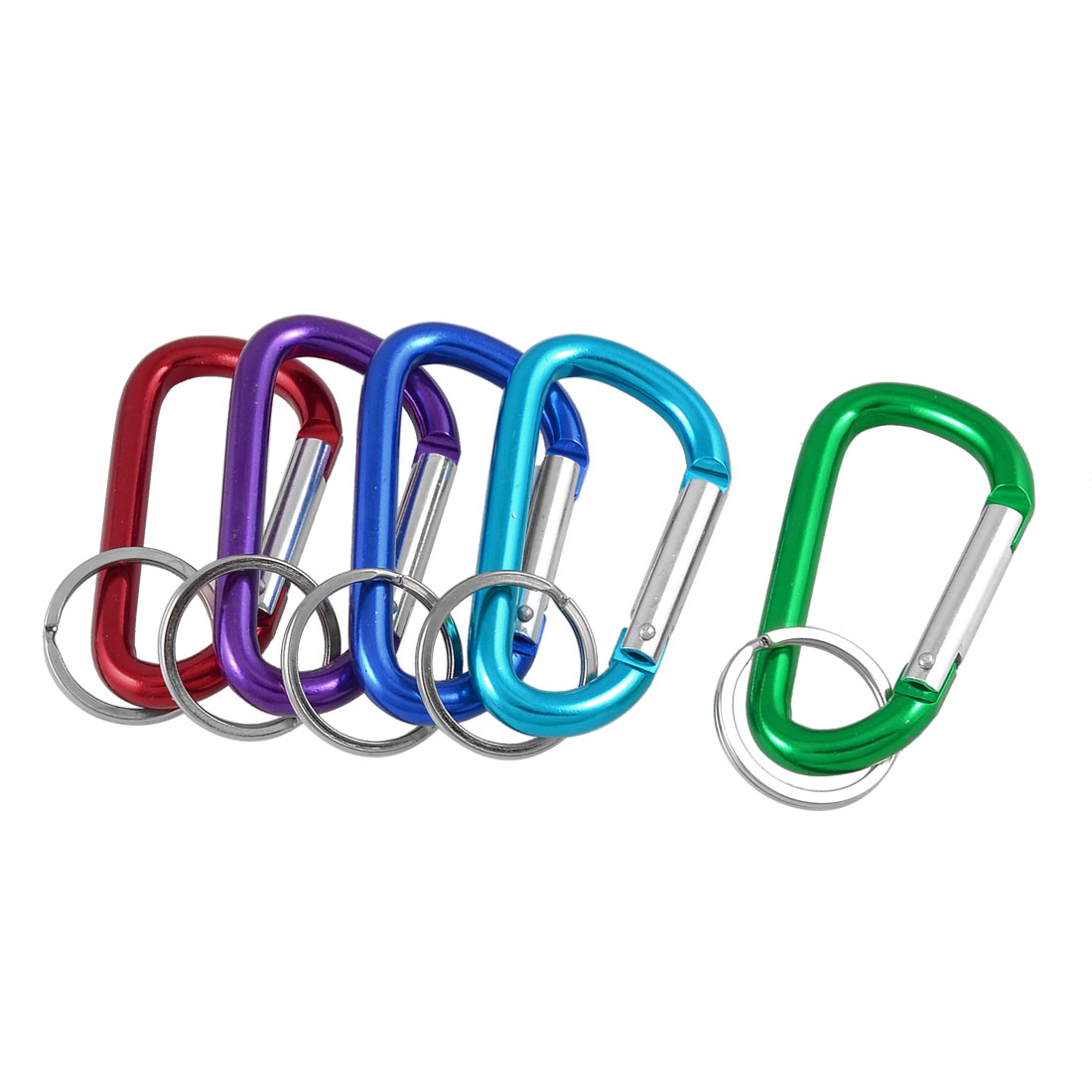 "5 Pcs 3"" Length Assorted Color Aluminum Alloy D Shaped Lockable Carabiners"