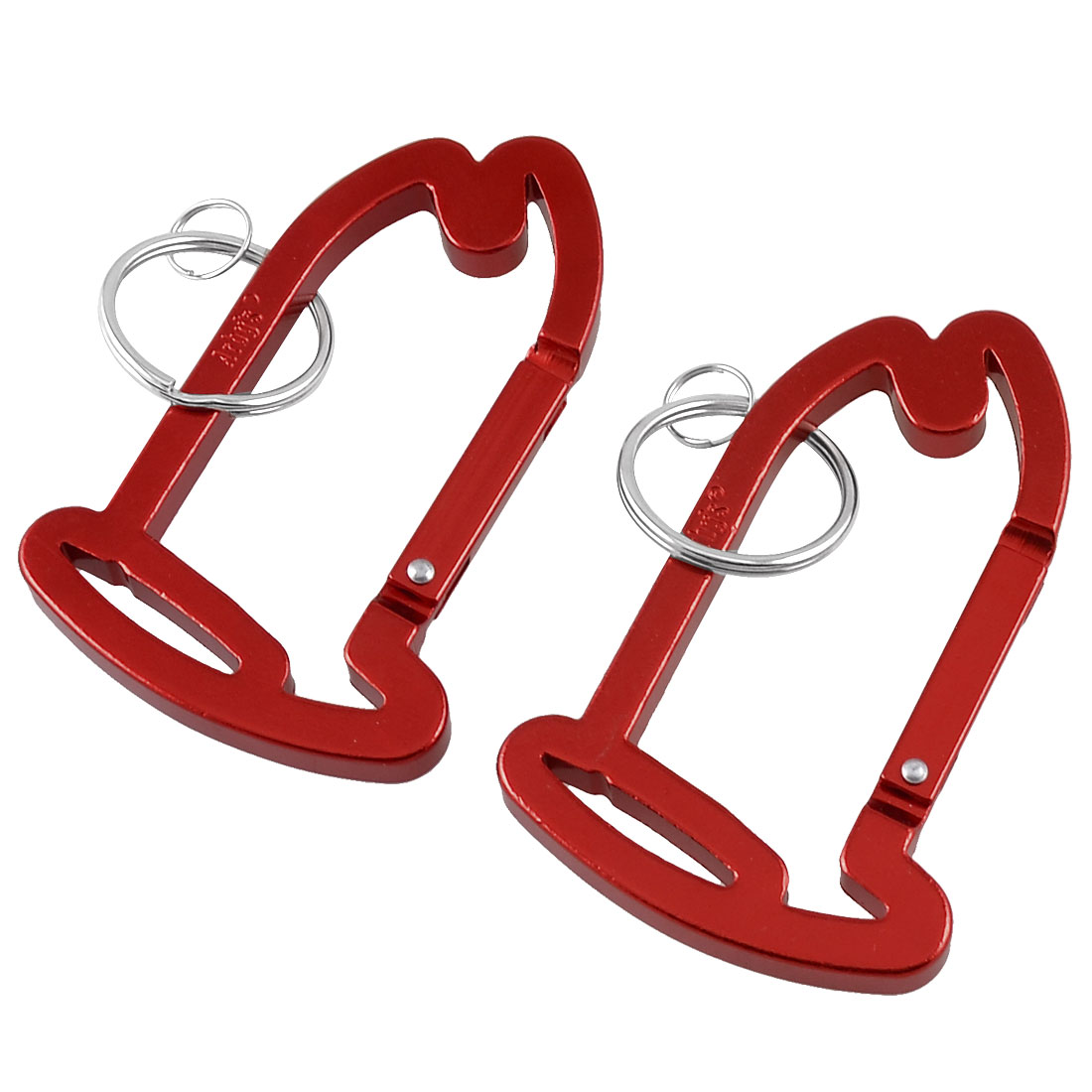 Outdoor Red House Shaped Locking Carabiner Hook Keychain 2 Pcs