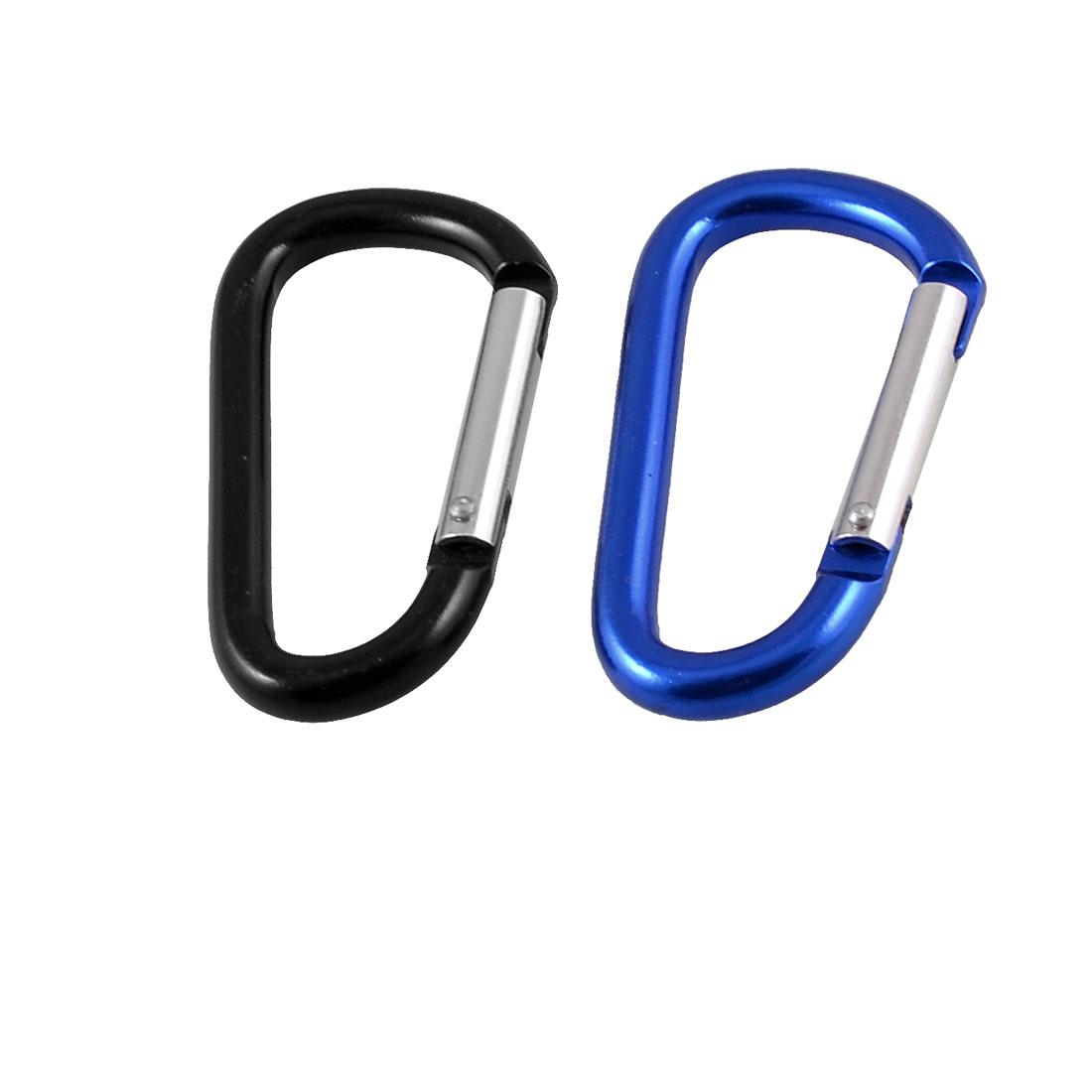 2 Pcs Black Blue Spring Design Gate D Shaped Carabiner Hook Key Holder