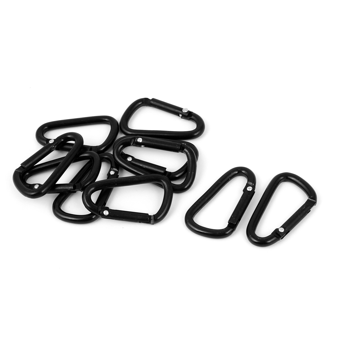 10 Pcs Black D Shaped Aluminum Alloy Fishing Traveling Carabiner Hook Keychain