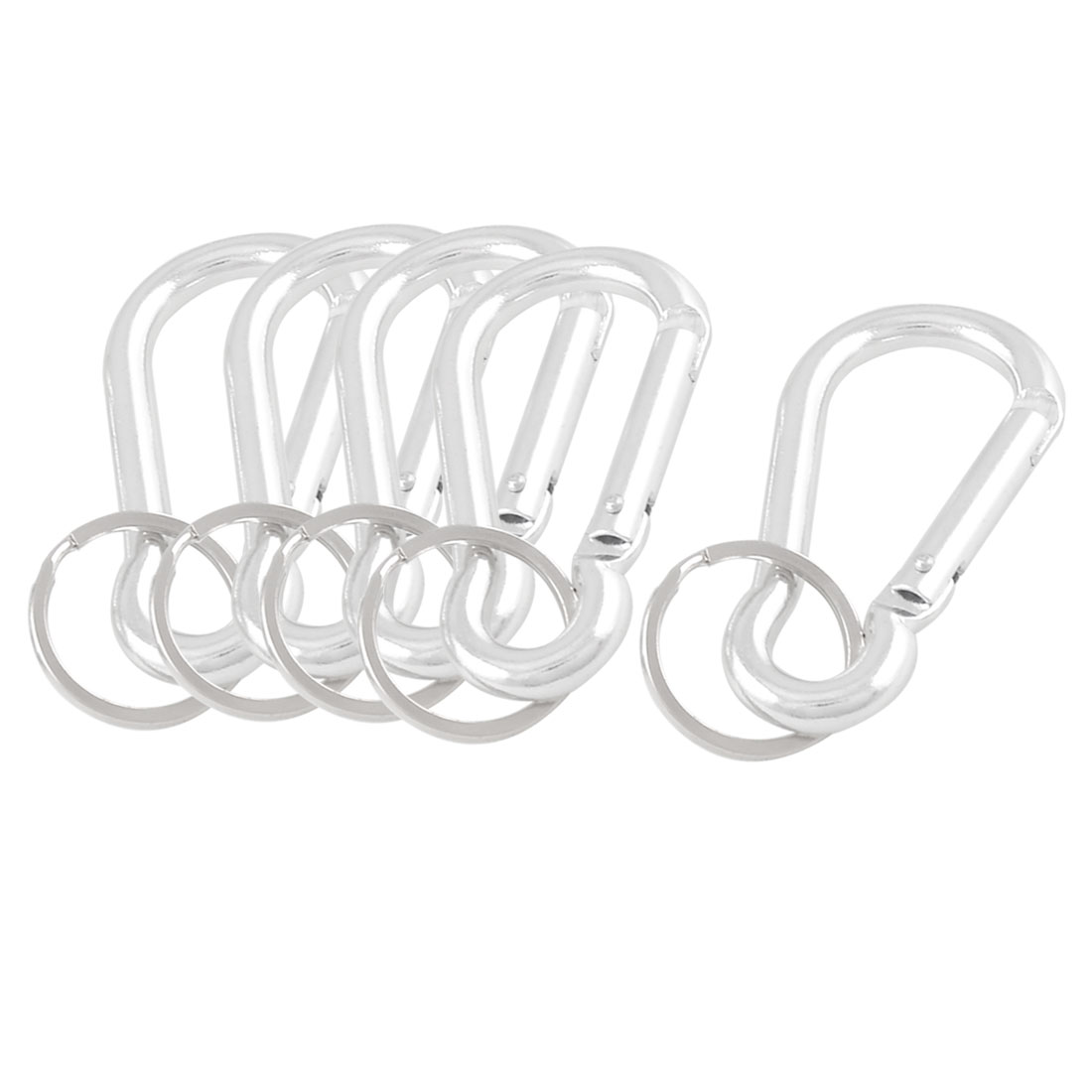 Silver Tone Aluminum Carabiner Key Ring for Camping 5 Pcs