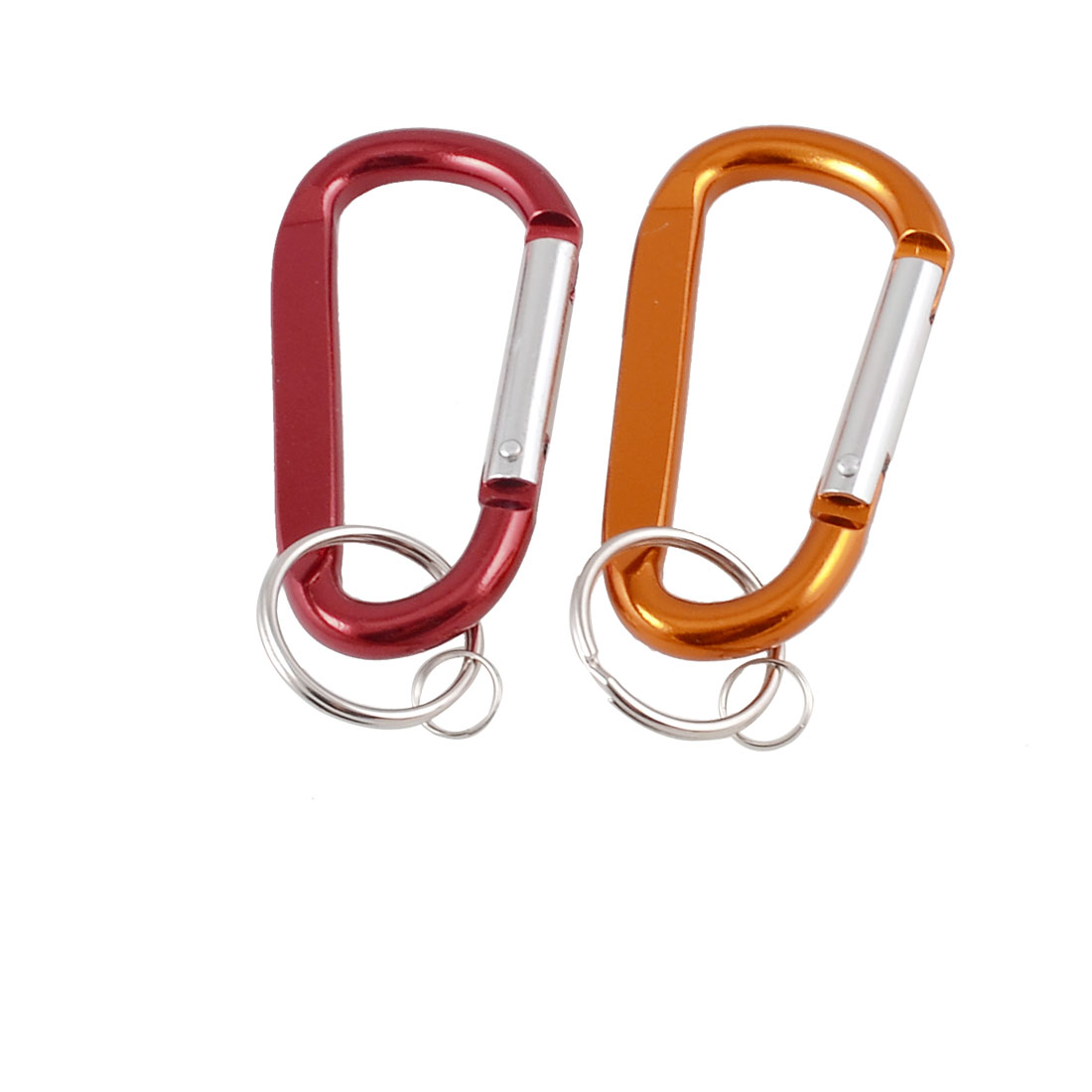 2 Pcs Red Orange Aluminum Alloy D Shape Lockable Carabiner w Keyring