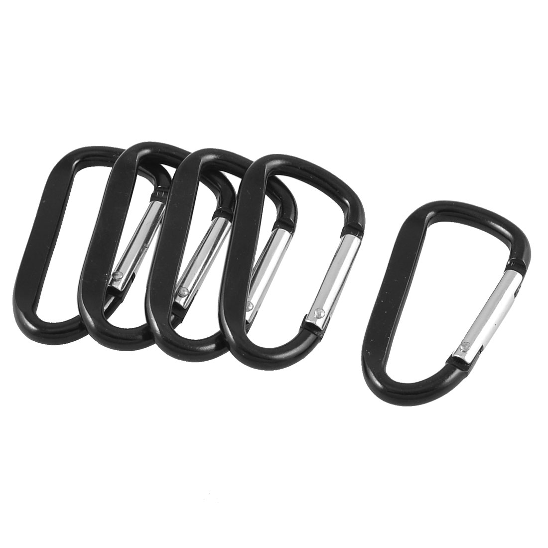4 Pcs Black Silver Tone D Shaped Aluminum Alloy Carabiner Hook