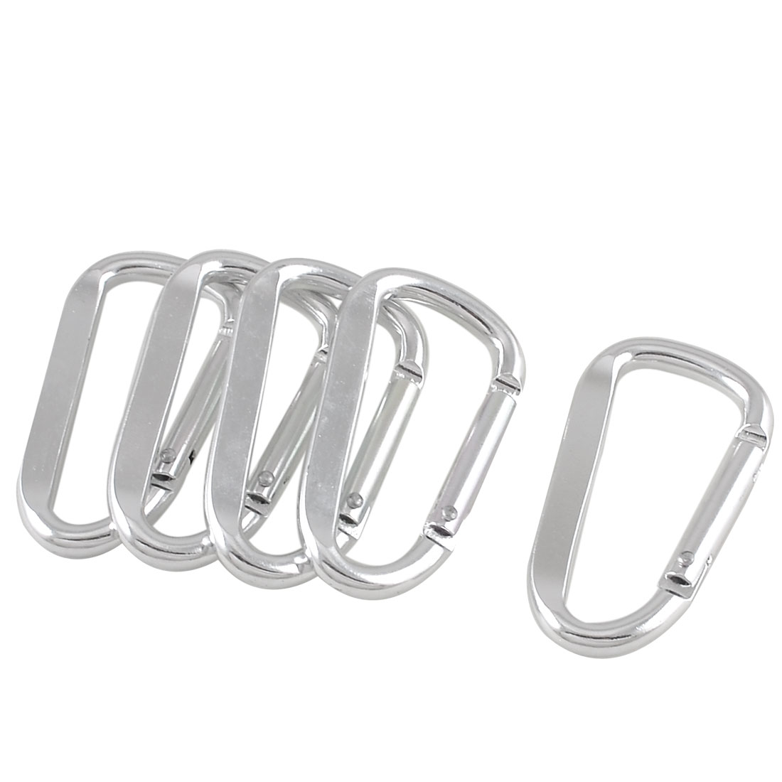 5 Pcs Silver Tone D Shaped Aluminum Alloy Carabiner Hook Keychain