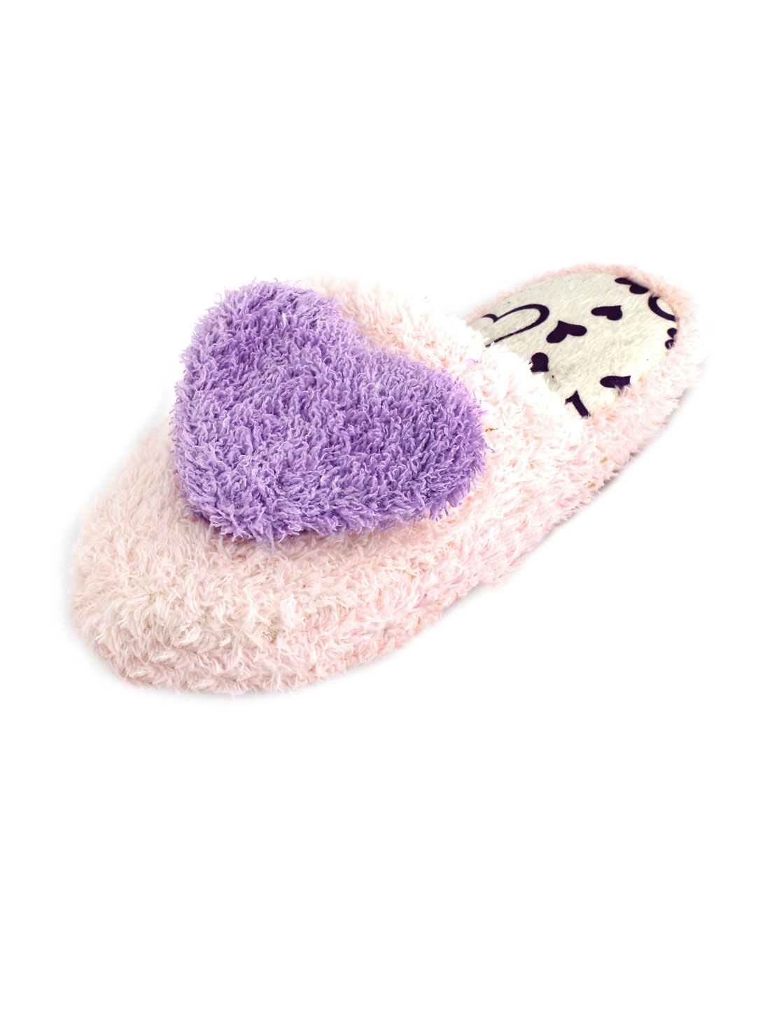 Ladies Light Pink Purple Heart Decor Plush Warm Warming Slippers UK 6.5