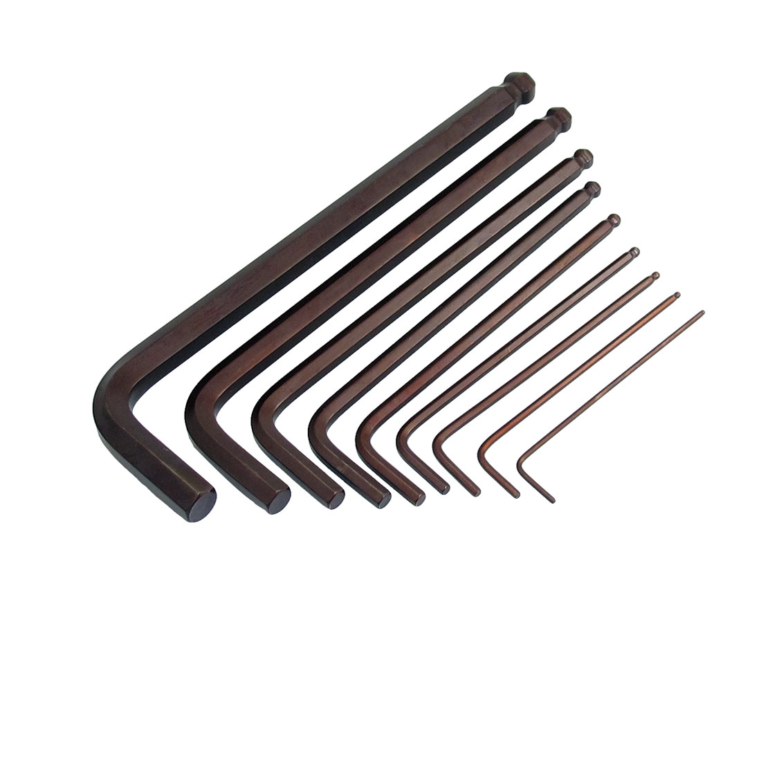 Chrome Vanadium Coffee Color 1.5mm to 10mm Hexagon Hex Key Wrench Hand Tool 9 in 1