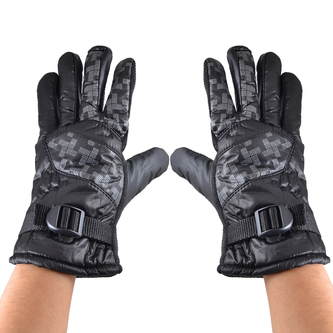 Men Adjustable Wrist Band Full Finger Cycling Skiing Gloves Black Gray Pair
