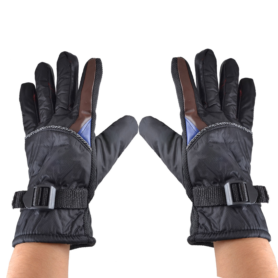 Pair Black Brown Nylon Fleece Lining Warm Full Finger Sports Gloves for Man