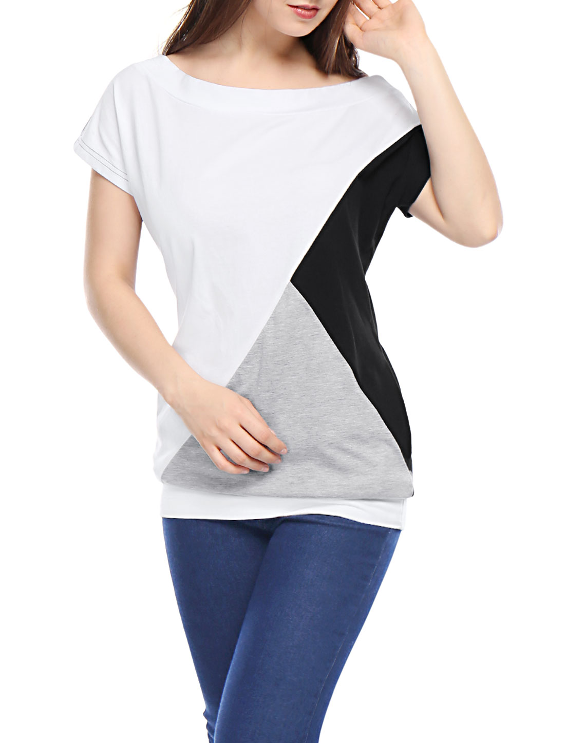 Woman Black White Gray Pullover Design Short Batwing Sleeve Leisure Tunic Shirt M