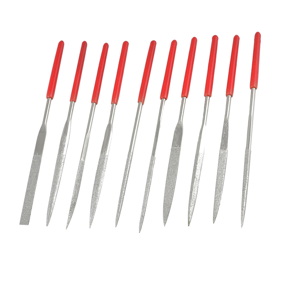 3mmx140mm Red Handgrip Equalling Square Round Triangle Diamond Needle Files 10 in 1
