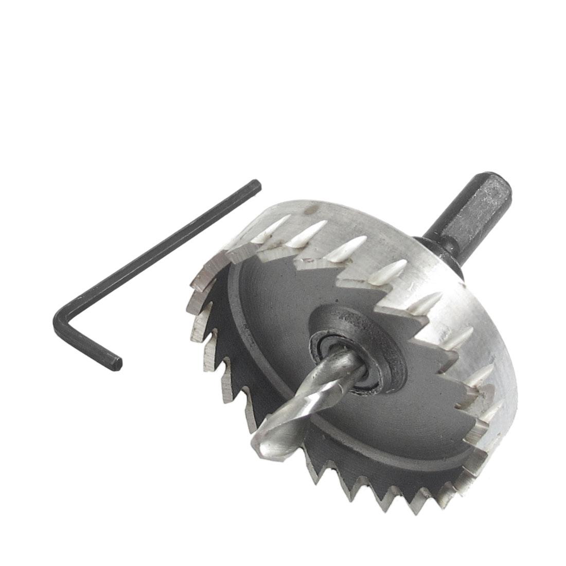 7mm Triangle Shank 50mm Hole Saw Twist Drill Drilling Bit Iron Cutter w Hex Key