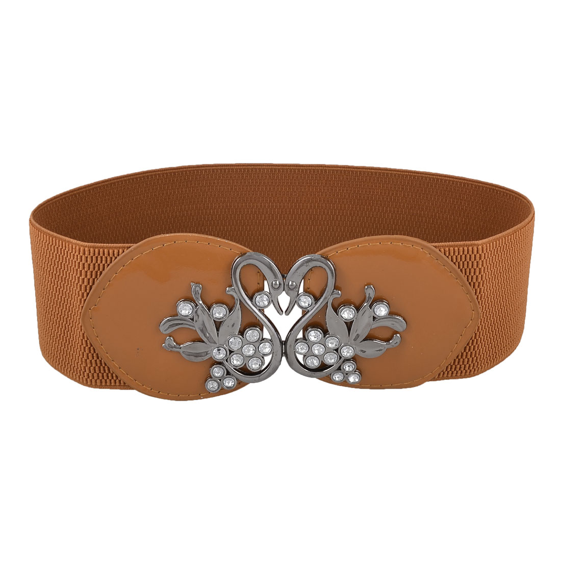 Women Rhinestones Swan Shape Interlocking Buckle Wide Elastic Cinch Belt Brown