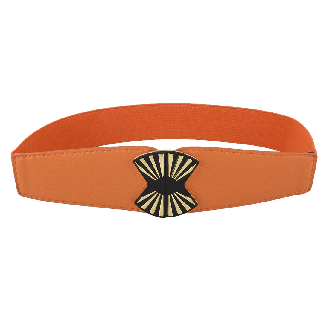 "Orange Metal Interlocking Buckle 1.5"" Width Elastic Waistband Belt for Ladies"