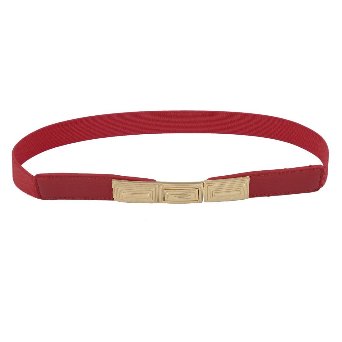 Lady Gold Tone Metal Interlocking Buckle Red Skinny Stretch Waistband Belt