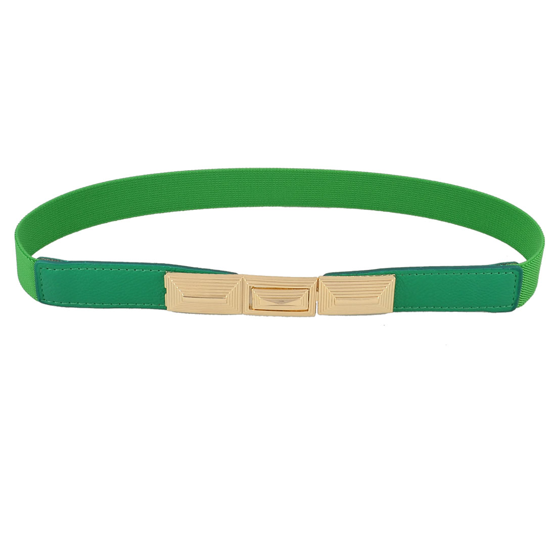 "Green Gold Tone Metal Buckle 1"" Width Elastic Thin Cinch Waist Belt for Woman"