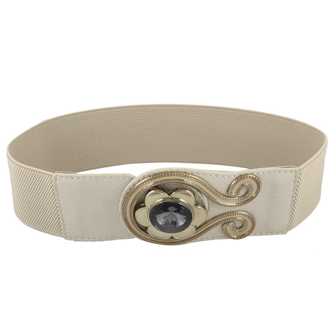 Women Crystal Flower Metal Interlock Buckle 6cm Wide Stretchy Cinch Belt Khaki