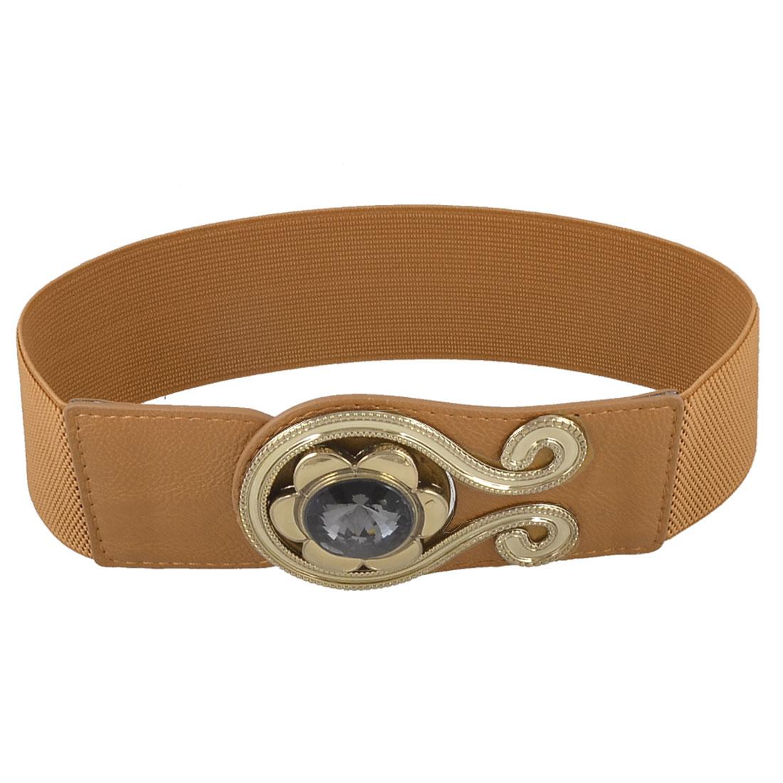 Ladies Bling Round Crystal Metal Interlocking Buckle Brown Elastic Waist Belt