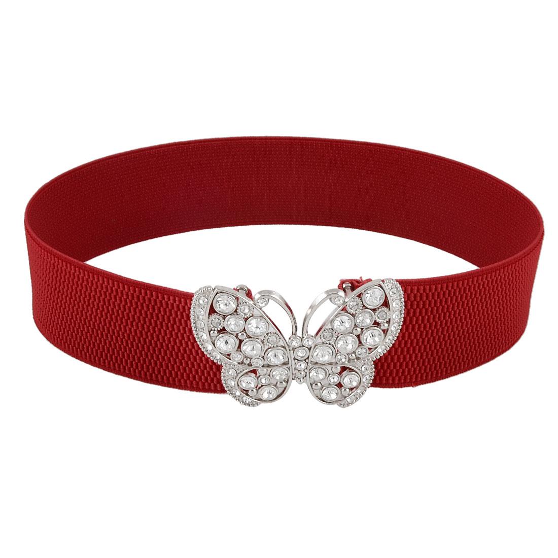 """Lady Butterfly Design Metal Hook Buckle 2"""" Width Elastic Waist Belt Red"""