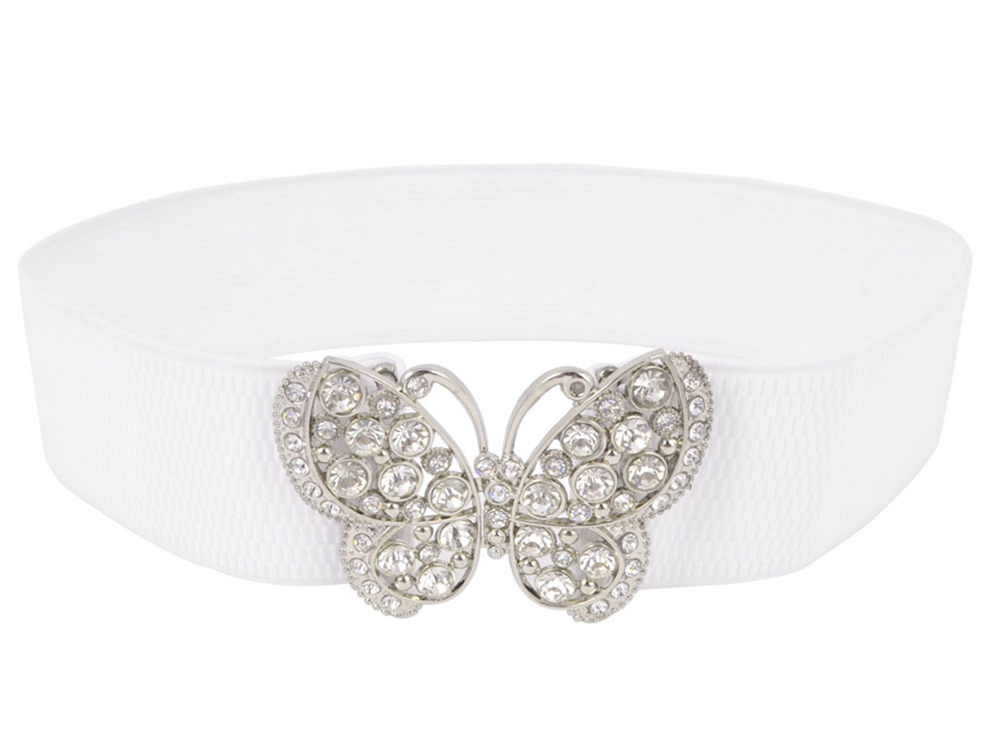 Women Rhinestones Accent Butterfly Hook Buckle Elastic Cinch Waist Belt White