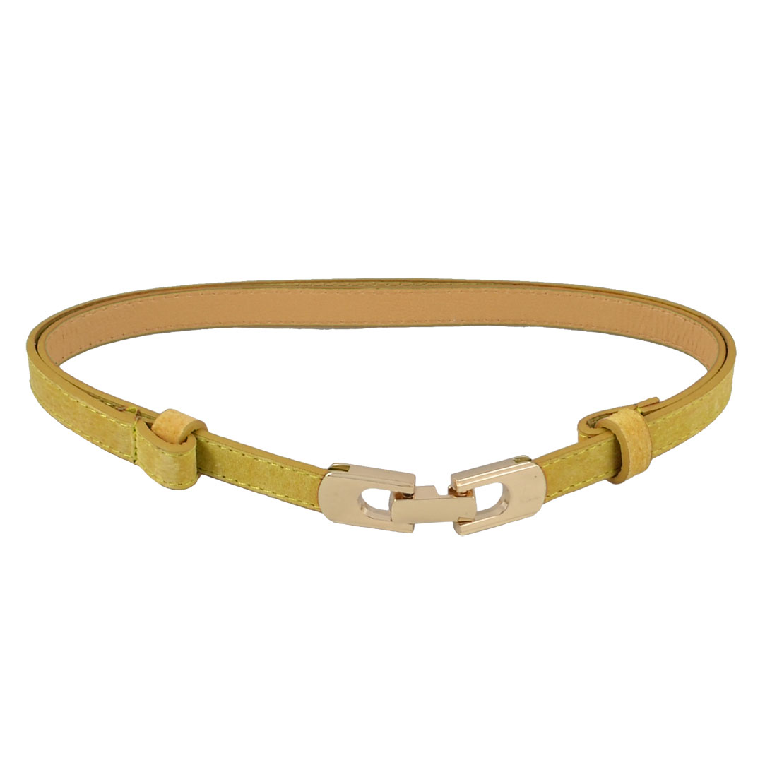"Yellow Gold Tone Interlocking Buckle Adjustable Waist Belt 0.6"" Width for Lady"