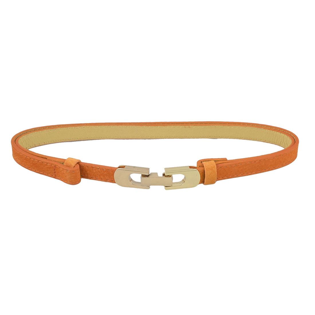 "Orange Gold Tone Interlocking Buckle Adjustable Waist Belt 0.6"" Width for Lady"