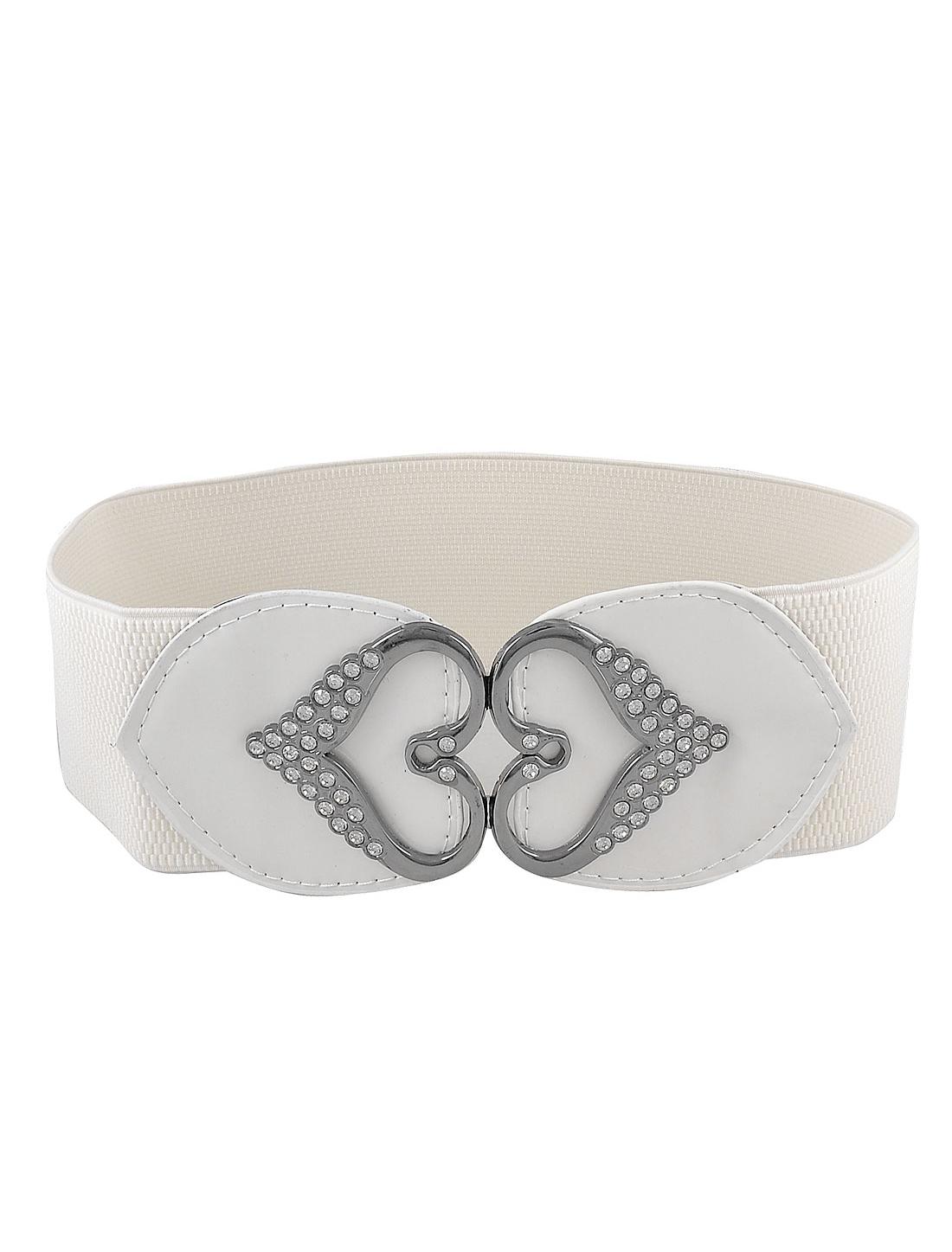 Ladies Double Heart Design Metal Interlocking Buckle White Elastic Waist Belt