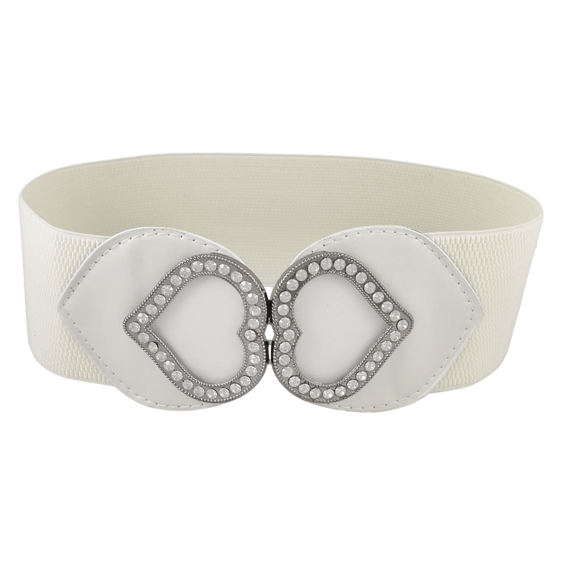 "Lady Metal Heart Shape Interlocking Buckle 3"" Width Elastic Waist Belt White"