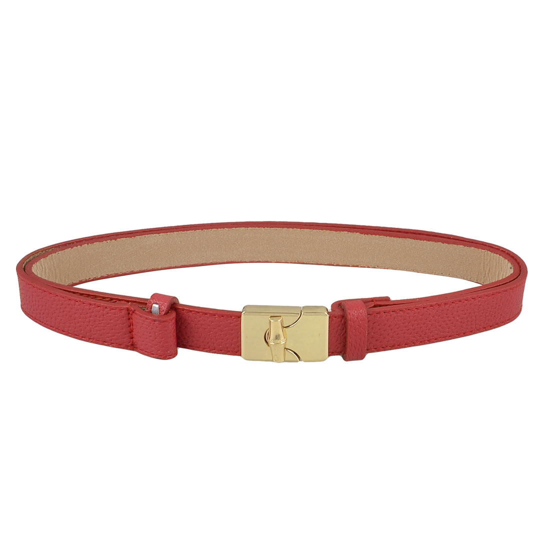 Lady Gold Tone Metal Turn Lock Buckle Red Faux Leather Thin Sliding Waist Belt