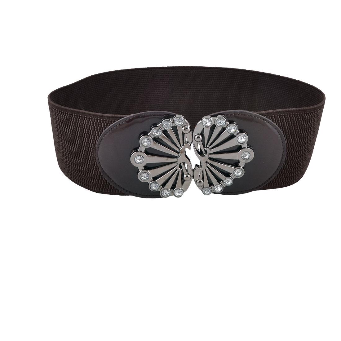 Lady Rhinestones Interlocking Buckle Dark Brown Wide Stretchy Waistband Belt