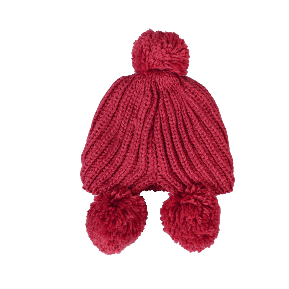 Lady Glittery Crystal Inlaid Red Knit Earflap Beanie Pom-pom Detail Beanie Hat