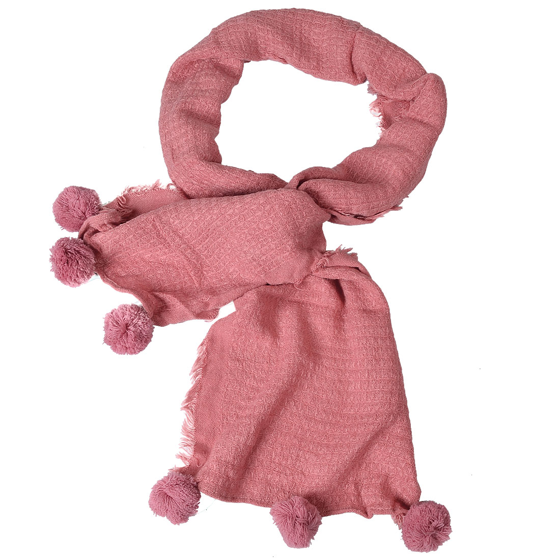 Pink Pom Pom Ornament Cable Knitted Acrylic Warm Check Pattern Scarf for Women