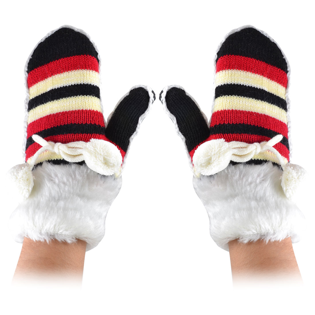 Pair Black Red Stripes Pattern Pom Pom Decor Knitting Winter Snow Warm Elastic Gloves Mittens
