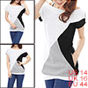 Ladies Black White Gray Side Pockets Detail Boat Neck Slim Casual Tunic Shirt L