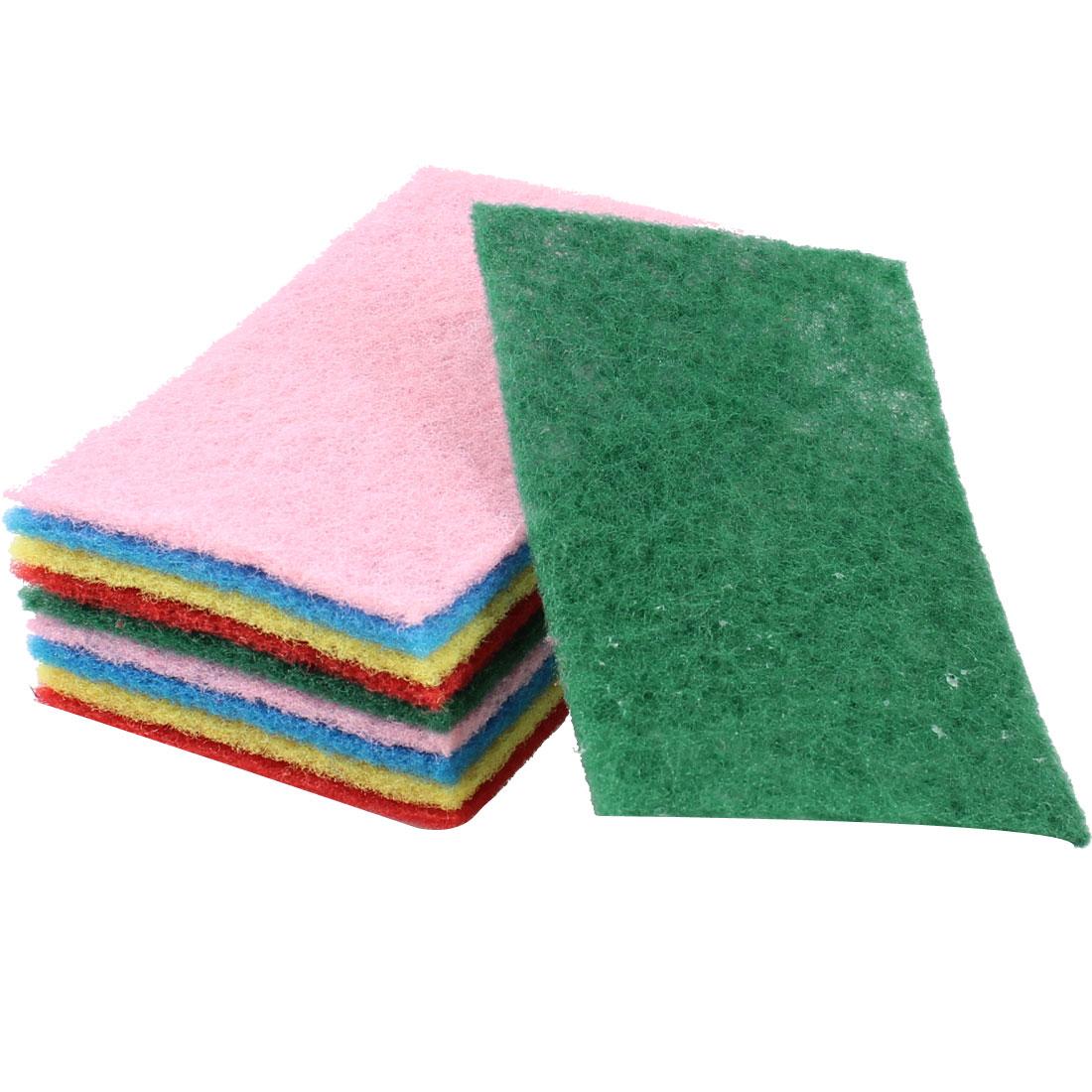 10 Pcs Colors Kitchen Rectangle Sponge Bowl Dish Scrub Cleaning Pad