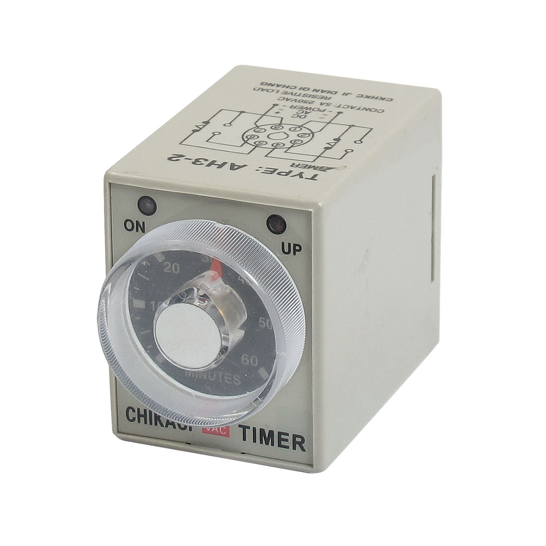 Panel Mounted DPDT 8P 60 Minutes 60Min Timer Power on Time Relay 220VAC AH3-2