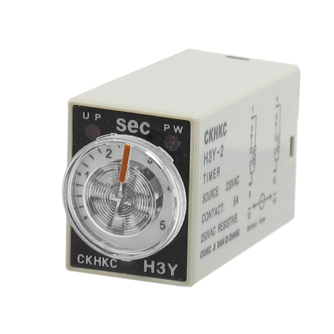 AC 220V 8P Terminals DPDT 5 Seconds 5S Delay Timer Time Relay H3Y-2