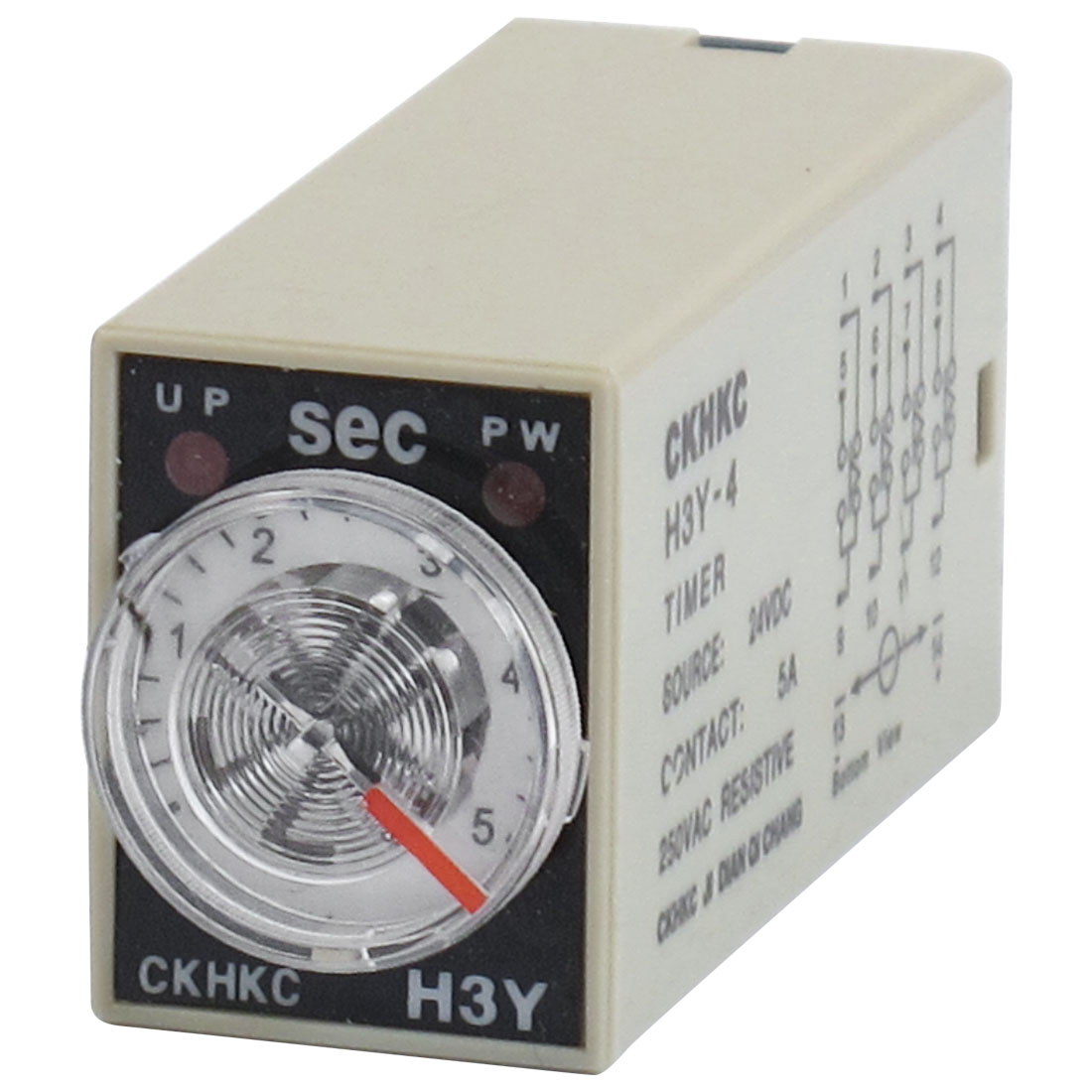 H3Y-4 14-Pin in 0-5Sec Delay Timer Time Relay 24VDC w LED Indicator