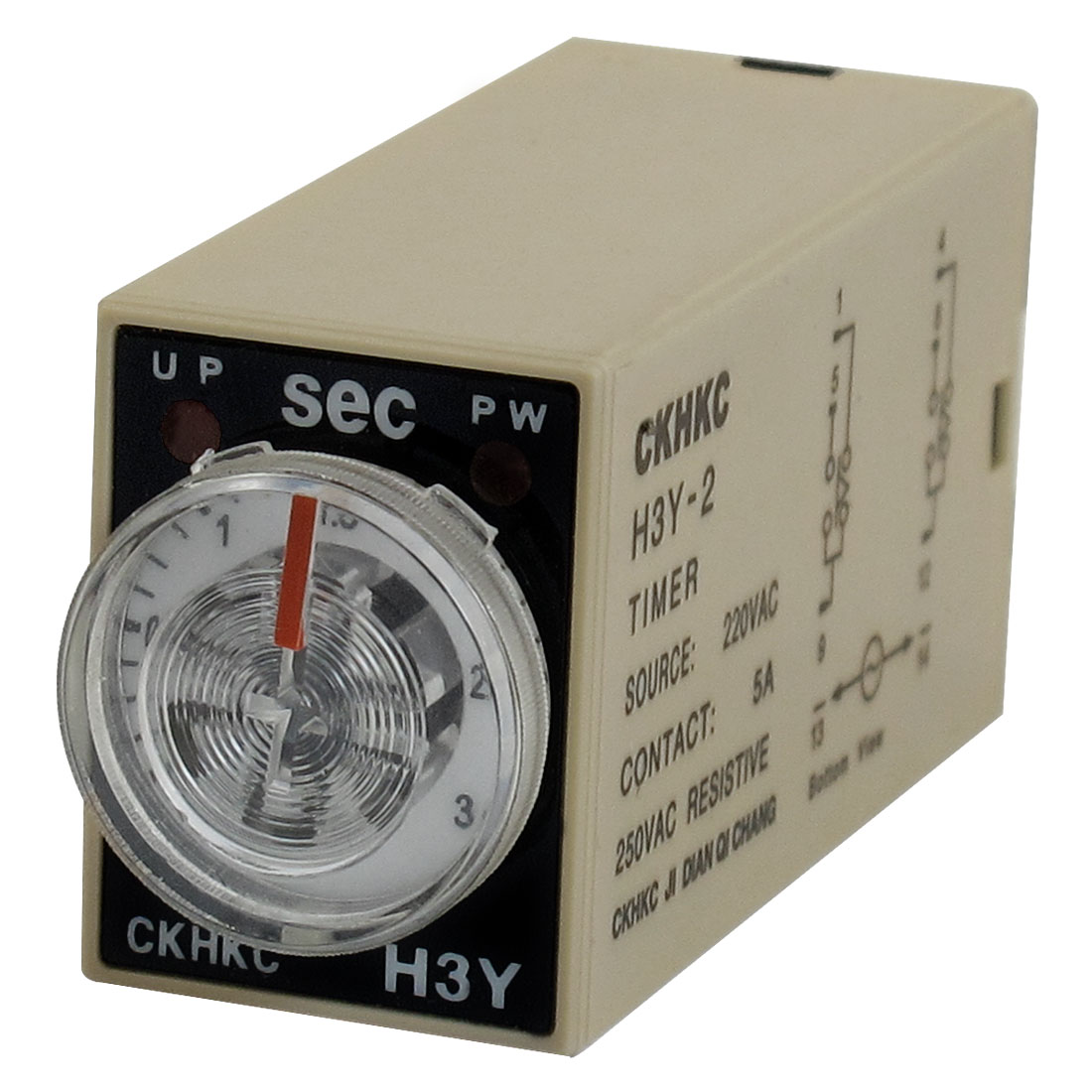 AC 220V 8P Terminals DPDT 3 Seconds 3S Delay Timer Time Relay H3Y-2
