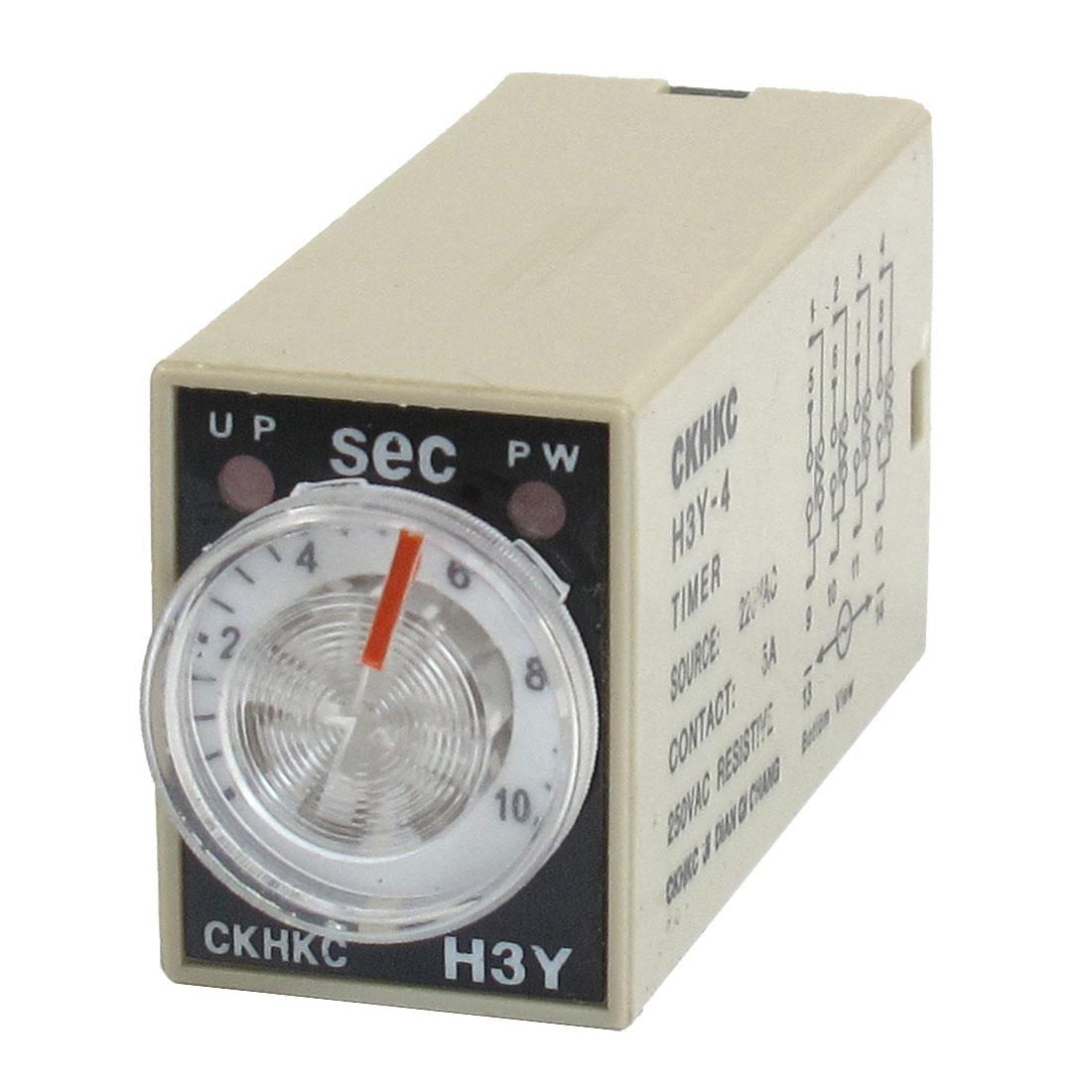 H3Y-4 AC 220V 4PDT 0-10 Sec 10S 14 Pins Plug in Power on Time Delay Relay