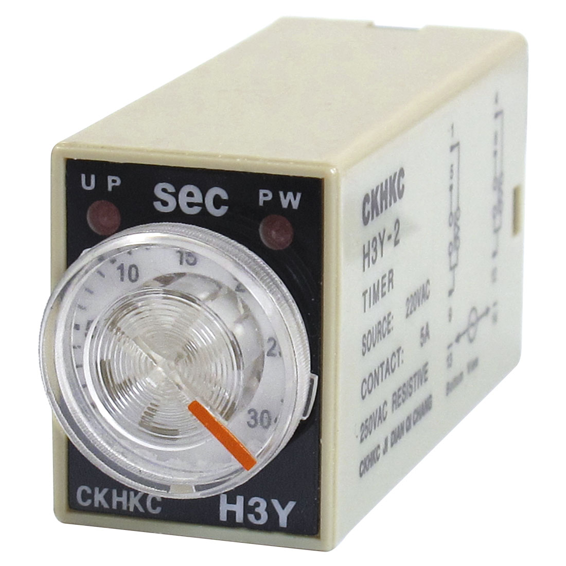 H3Y-2 AC 220V DPDT 0-30 Seconds 30S 8 Pins Power on Time Delay Relay