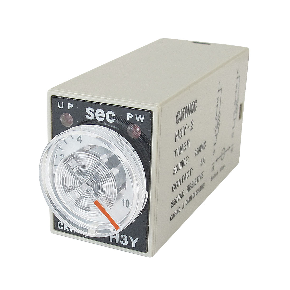 H3Y-2 AC 220V DPDT 0-10 Seconds 10S 8 Pins Power on Time Delay Relay